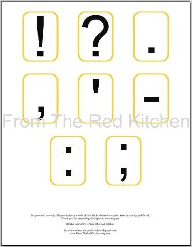 Alphabet Flashcards with common punctuation PDF
