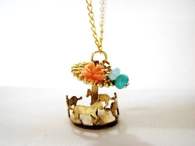 Let's Ride carousel necklace