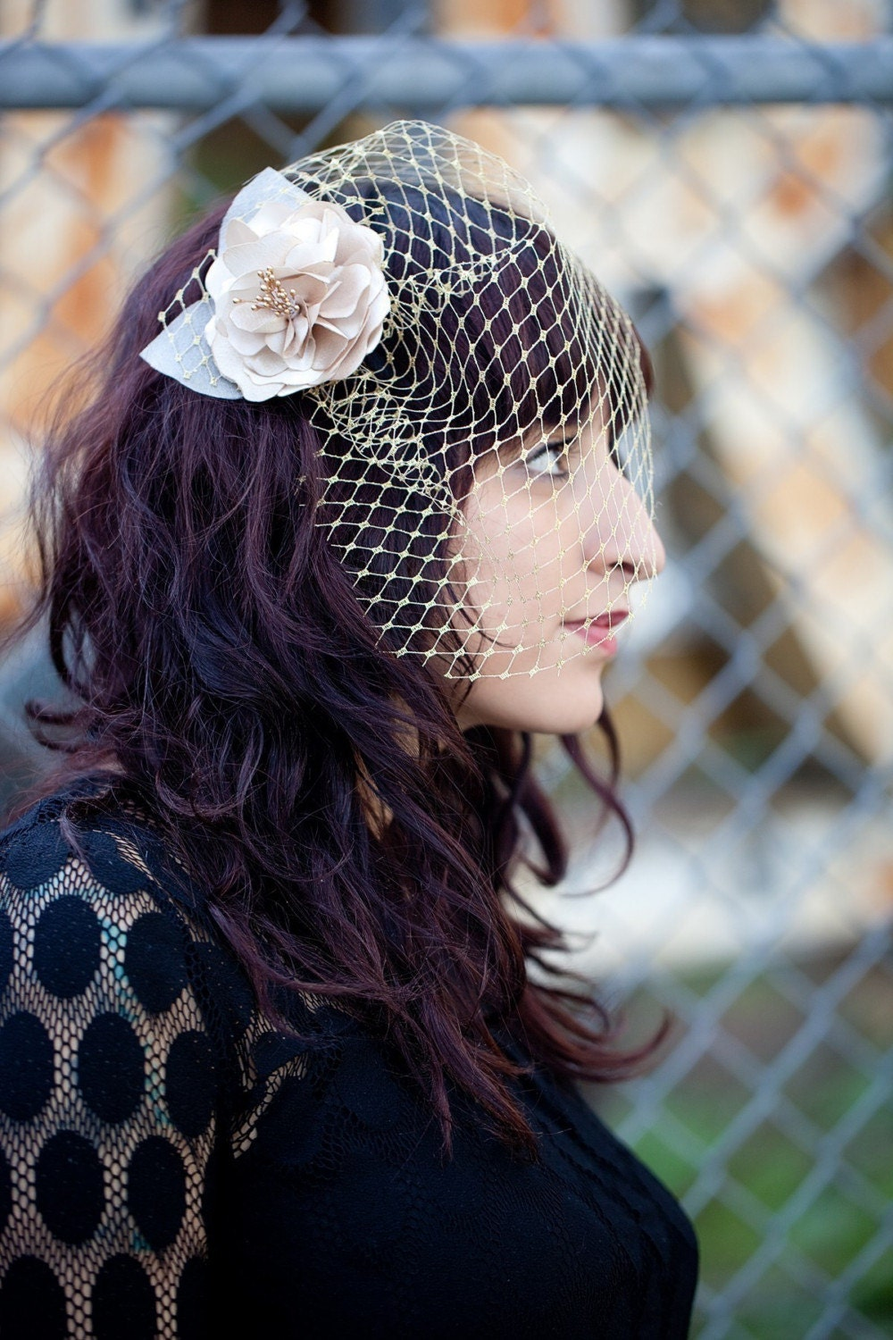 Mini Birdcage Veil - Gold Metallic or Silver Metallic