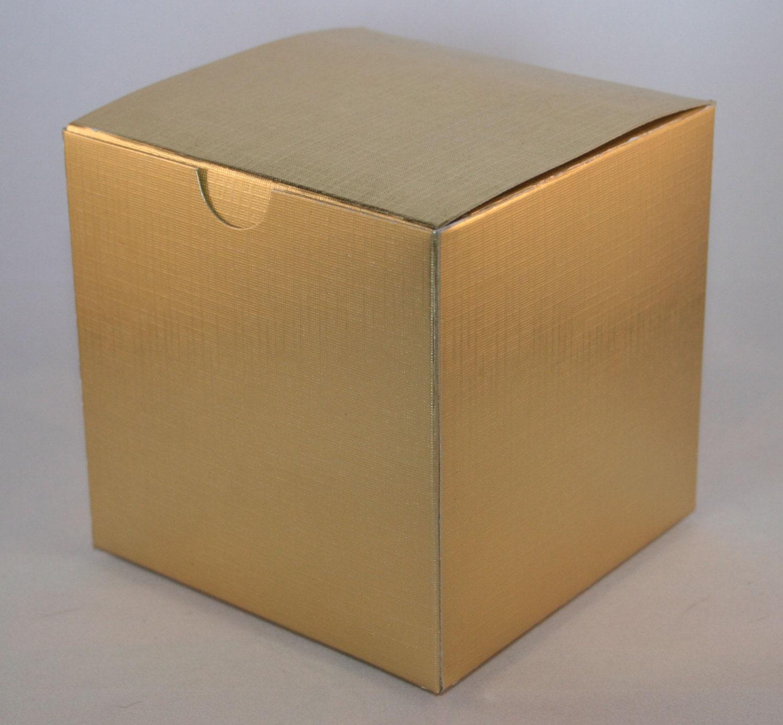 Gold Favor Boxes 4x4x4 : Items similar to lot of gold metallic kraft gift boxes