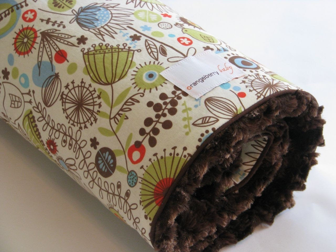 Baby Blanket Bird and Pod with Chocolate Brown Minky