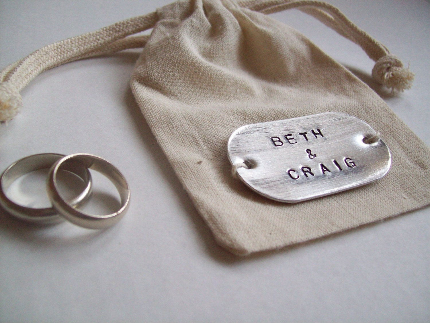 CUSTOM NAME... Cotton and Metal Custom names Wedding ring bag