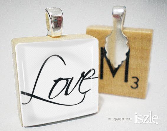 Scrabble Tile Pendant - LOVE (PW090)