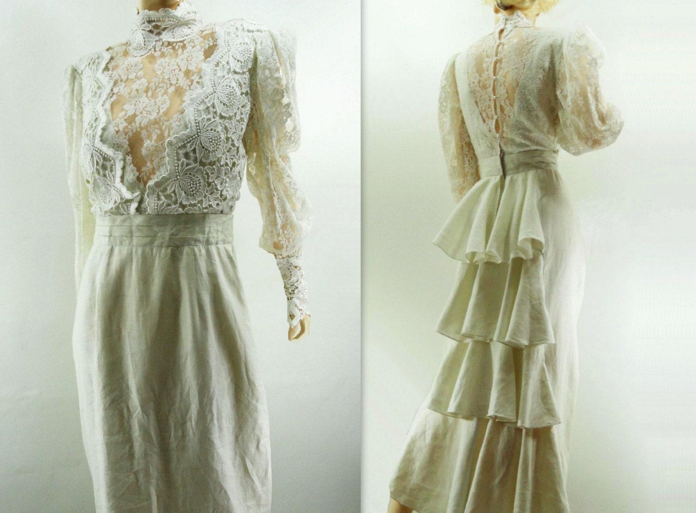 Vintage wedding dress linen victorian bustle by starletvintage for Victorian bustle wedding dress