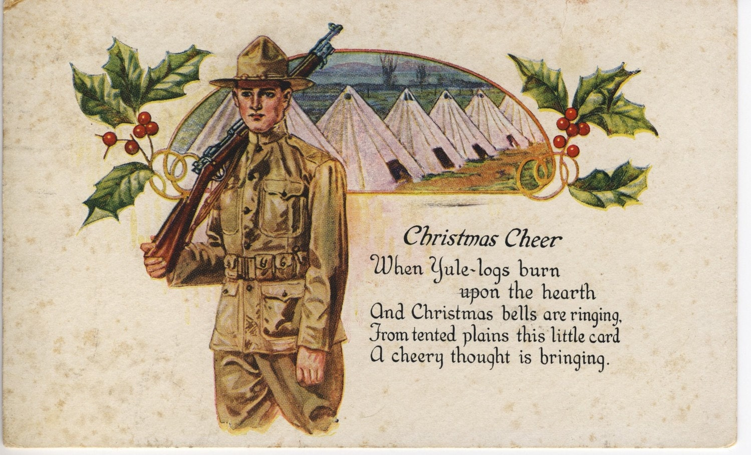 1917 Camp Hancock Christmas Postcard