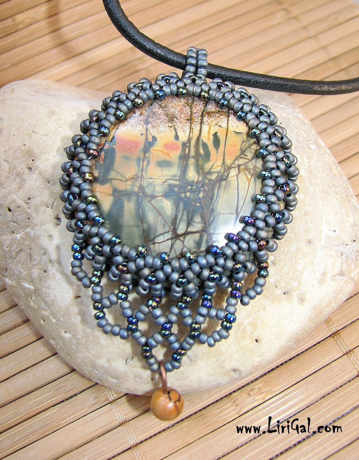 African Spirits.Picasso Jasper Beaded Cabochon Pendant