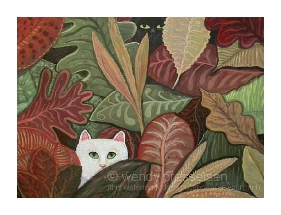 CATS HIDING Black Cat White Cat hiding in the Leaves TAPESTRY ART PRINT  Signed Folk Art Kitty Poster