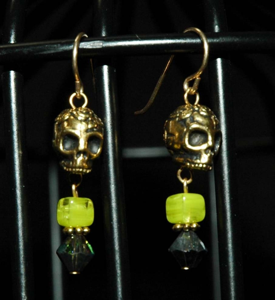 Gold Calavera Earrings