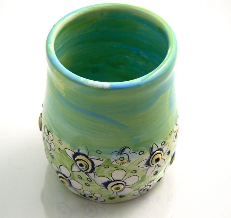 Handmade Daisy Pencil Cup, Brush Cup, What Not Pot
