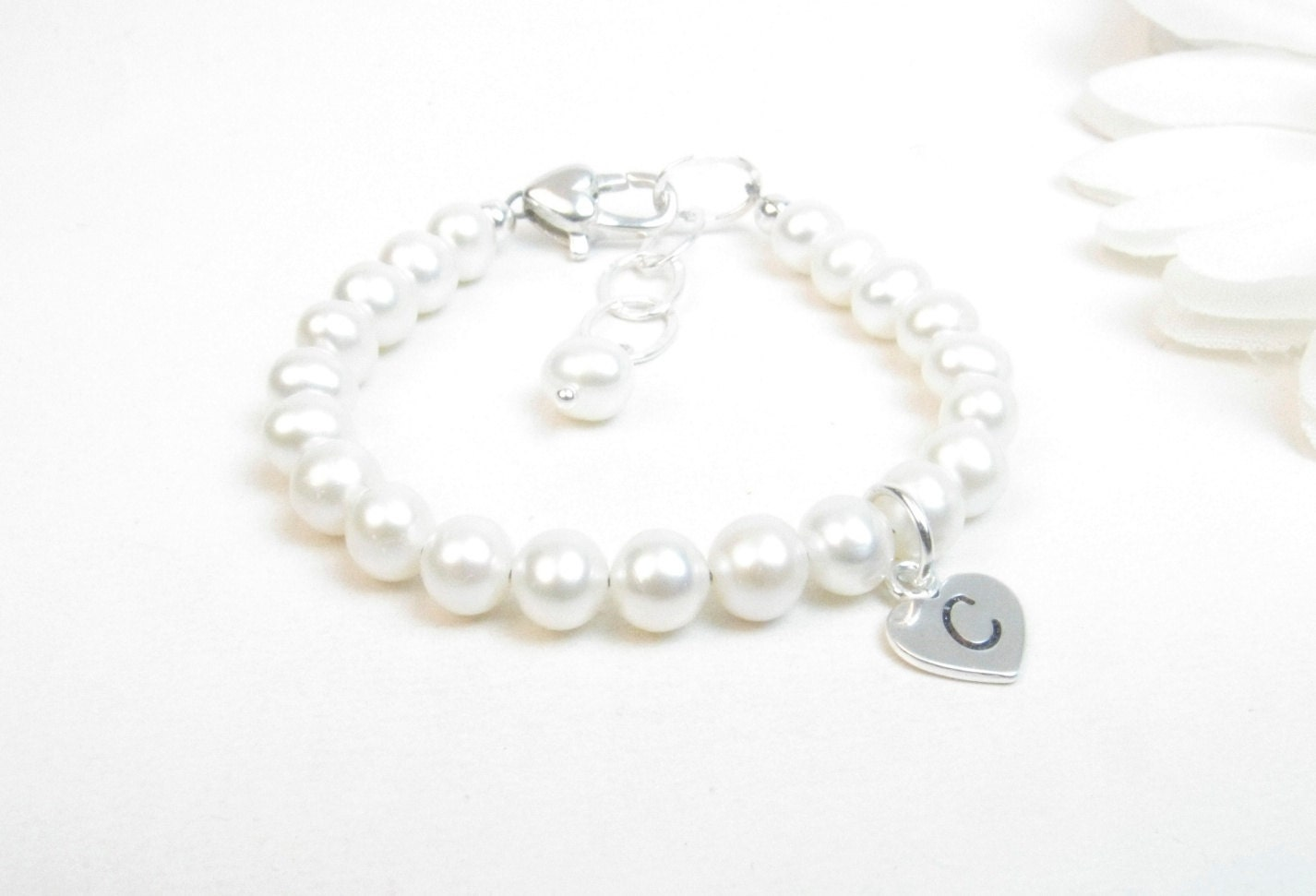 Flower Girl Bracelet with Freshwater Pearls and Hand Stamped Initial Heart Charm - pickledbeads