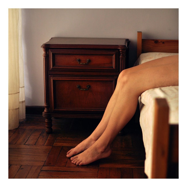 Legs and Brown Bedroom - 8x8 Fine Art Photograph - Warm Natural Light Photography Print - ValeriaH
