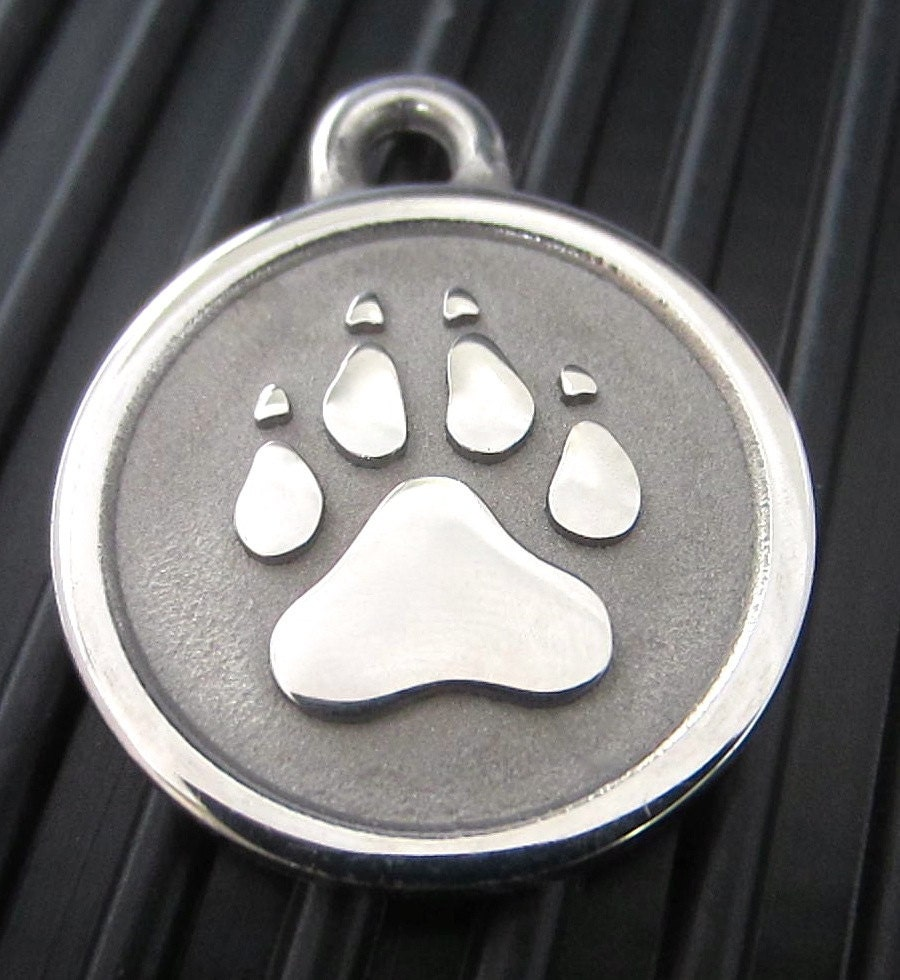 Large Stainless Steel Paw Print ID Tag by silverpawpettags on Etsy