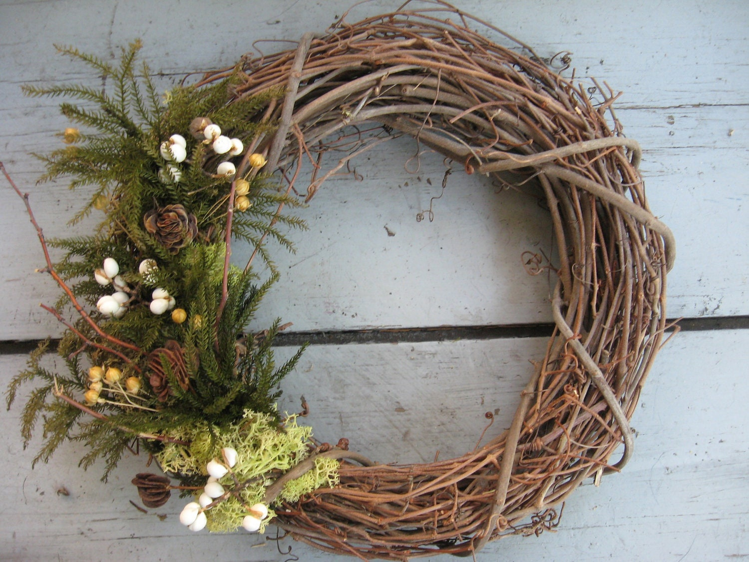 Evergreen Grapevine Wreath Moss Pine Twigs By Twigstwineandthyme