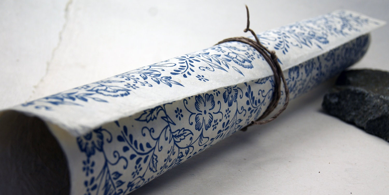 Handmade Wrapping Paper Gift Wrap 3 sheets Blue Garden flower print - flowerseedpaper