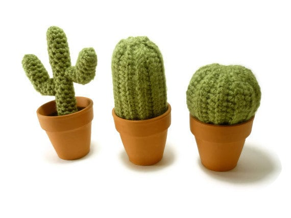 Set of three mini cacti cactus crocheted fake by What are miniature plants grown in pots called