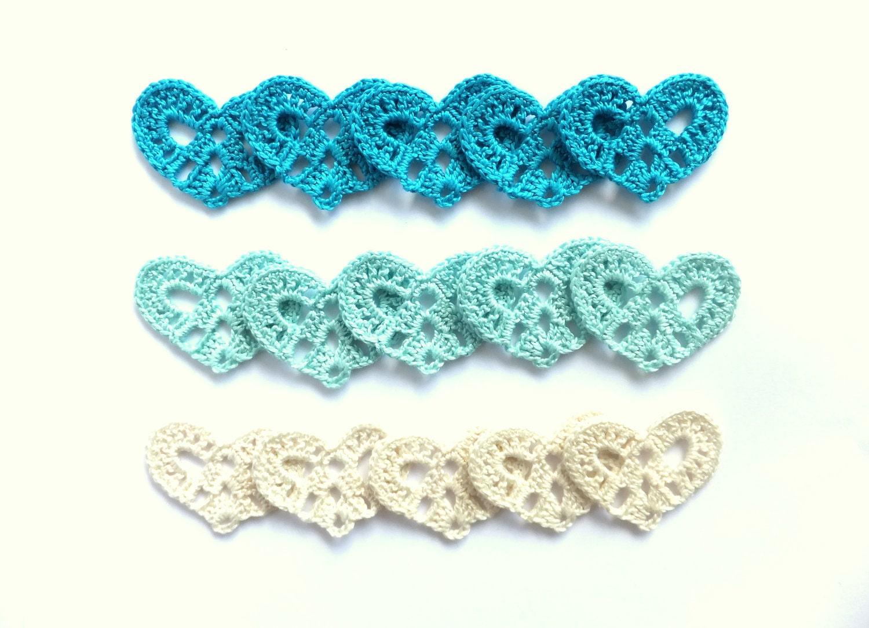Crocheted hearts applique - blue decorations, Wedding favors, embellishments /set of 15/