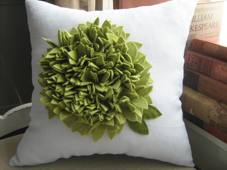Green Hydrangea Bloom Pillow on Dusty Blue Linen
