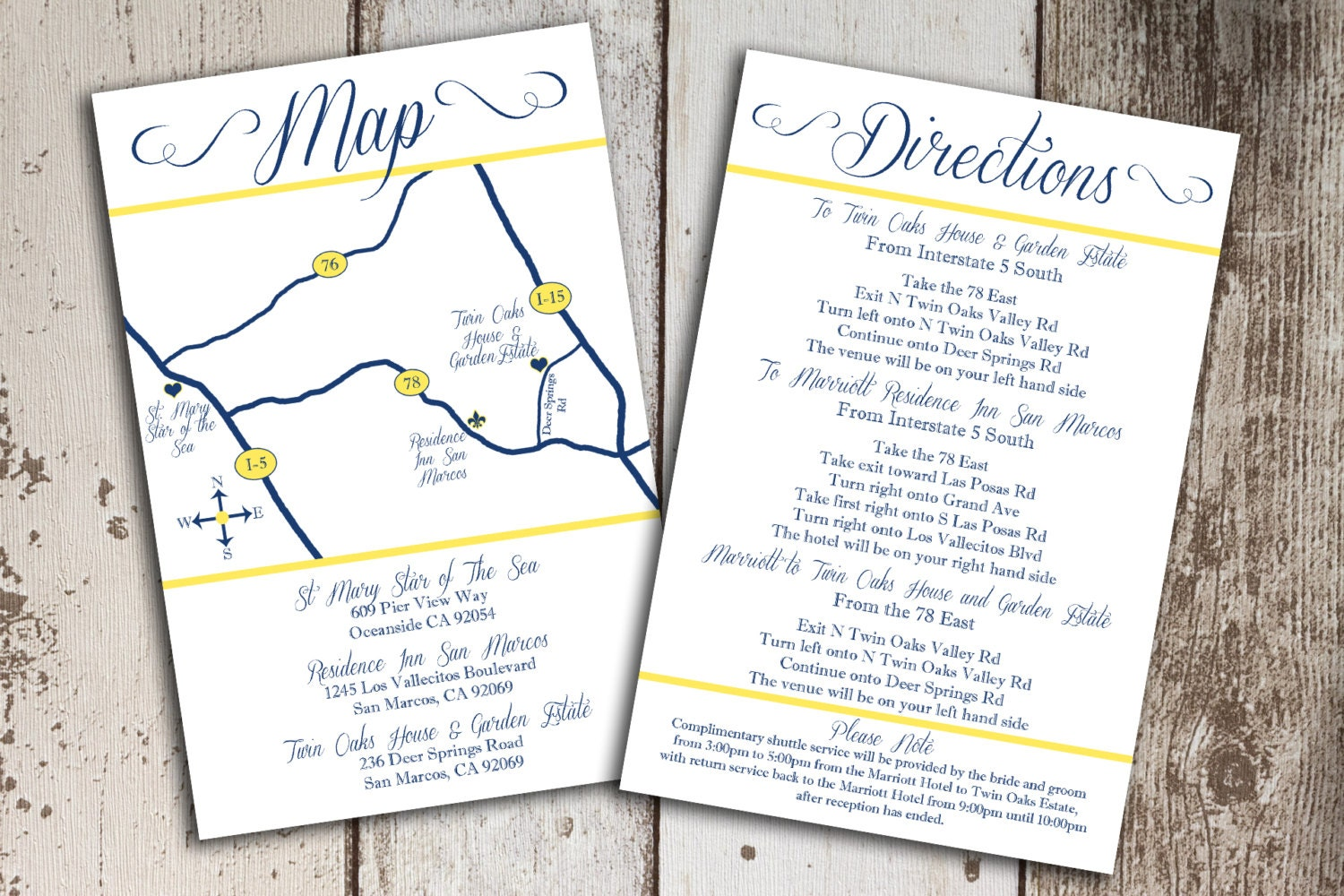 Custom Wedding Map And Direction Invitation By PaperCutCards