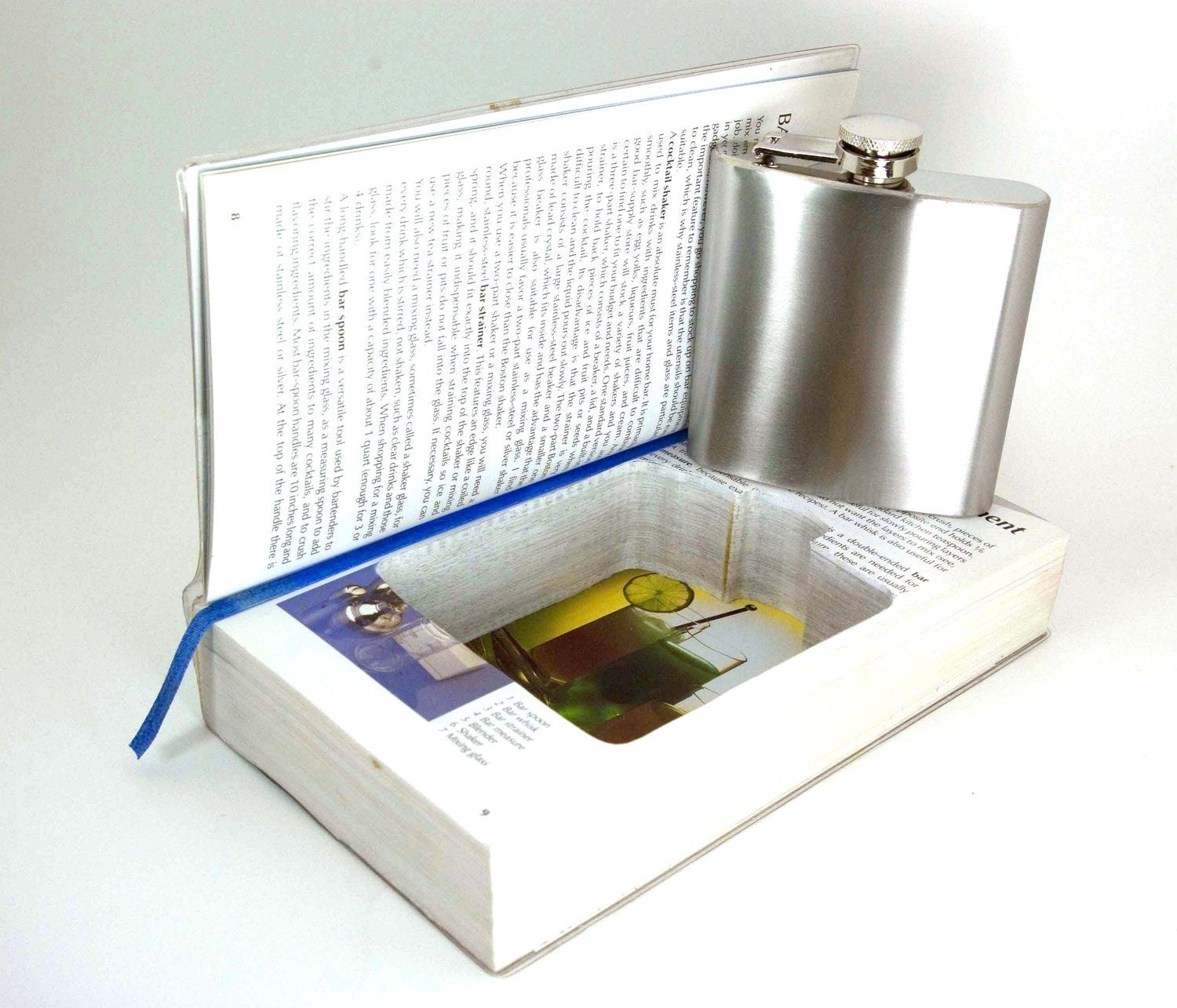 Hollow Book Safe -  The Bartender's Guide with Flask Cut-Out (flask included)