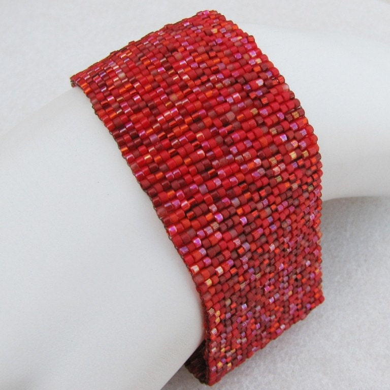 Some Like it Hot, Red Hot Peyote Cuff Bracelet  (2471)