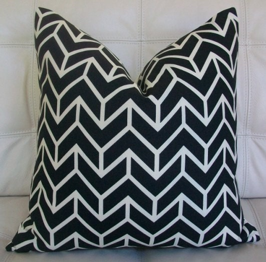 "NEW - Decorative Designer Pillow Cover - 18X18 - Schumacher ""Chevron Print"" in Black on an Ivory Background"