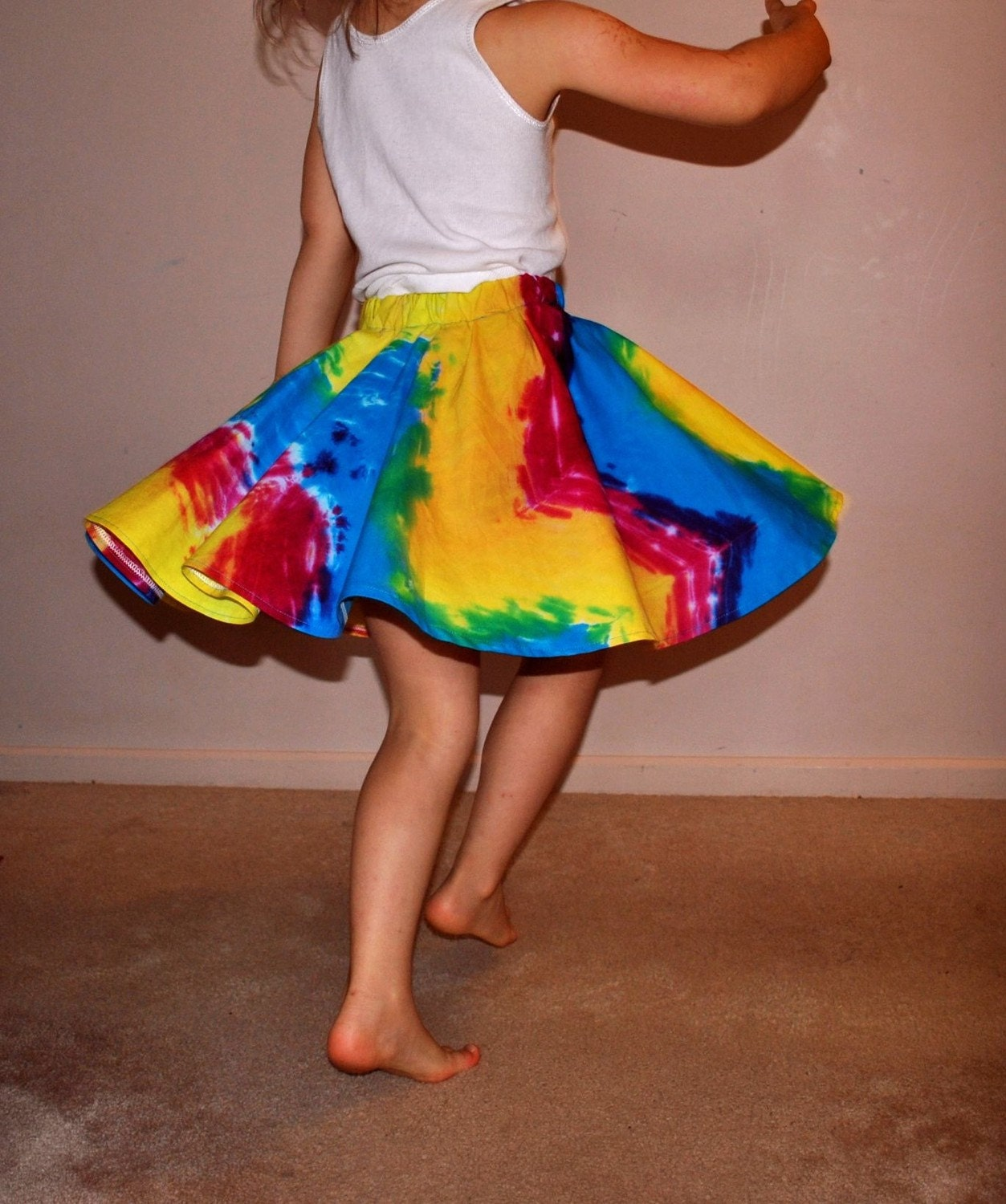 Hand dyed circle skirt to fit 3 year old