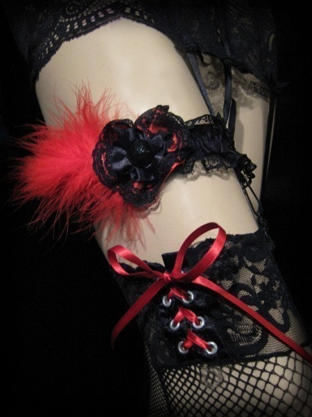 Strolling Seduction--Satin Rosette and Marabou Feather Garter