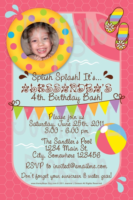 Splish Splash Pool Party Invitation Boy or Girl  DIY by HoneyBops from etsy.com