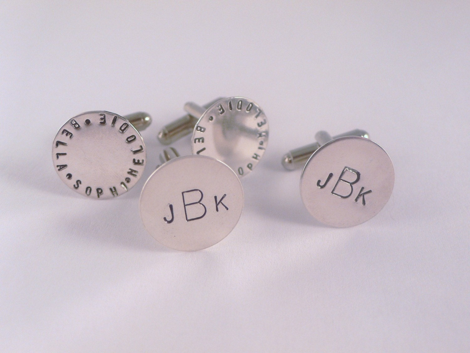 Cufflinks Personalized Custom Silver Circle Monogram Names Father's Day