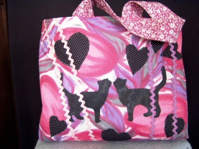 TOTE/Pink Tulip and Cat