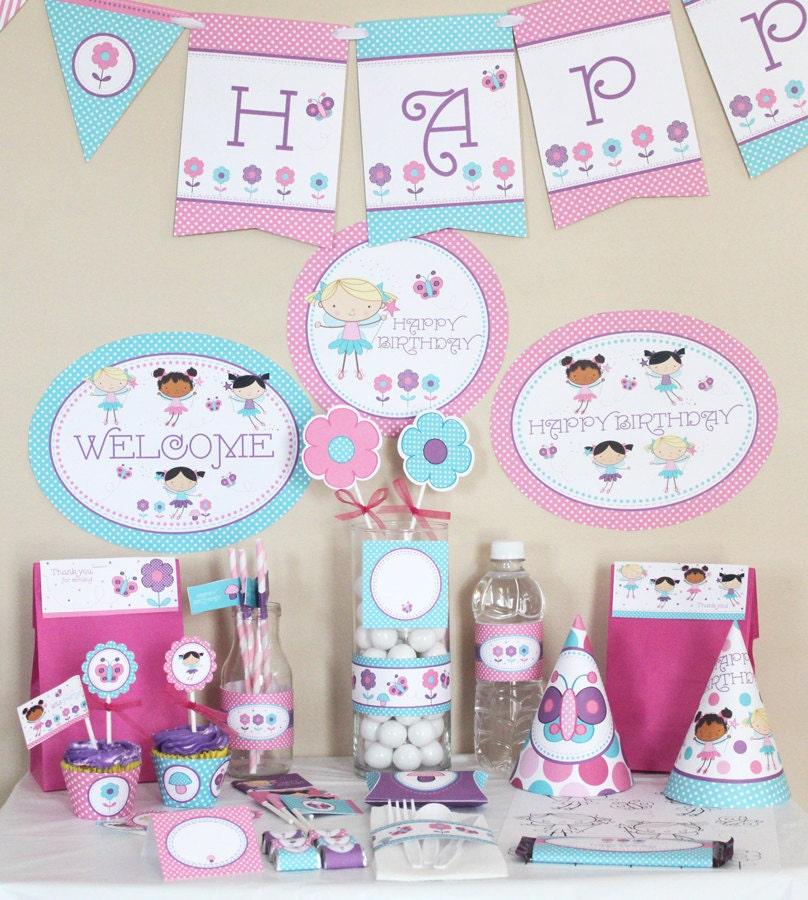 Stockberry Studio: Stick Figure Fairies Birthday Printable Party Kit
