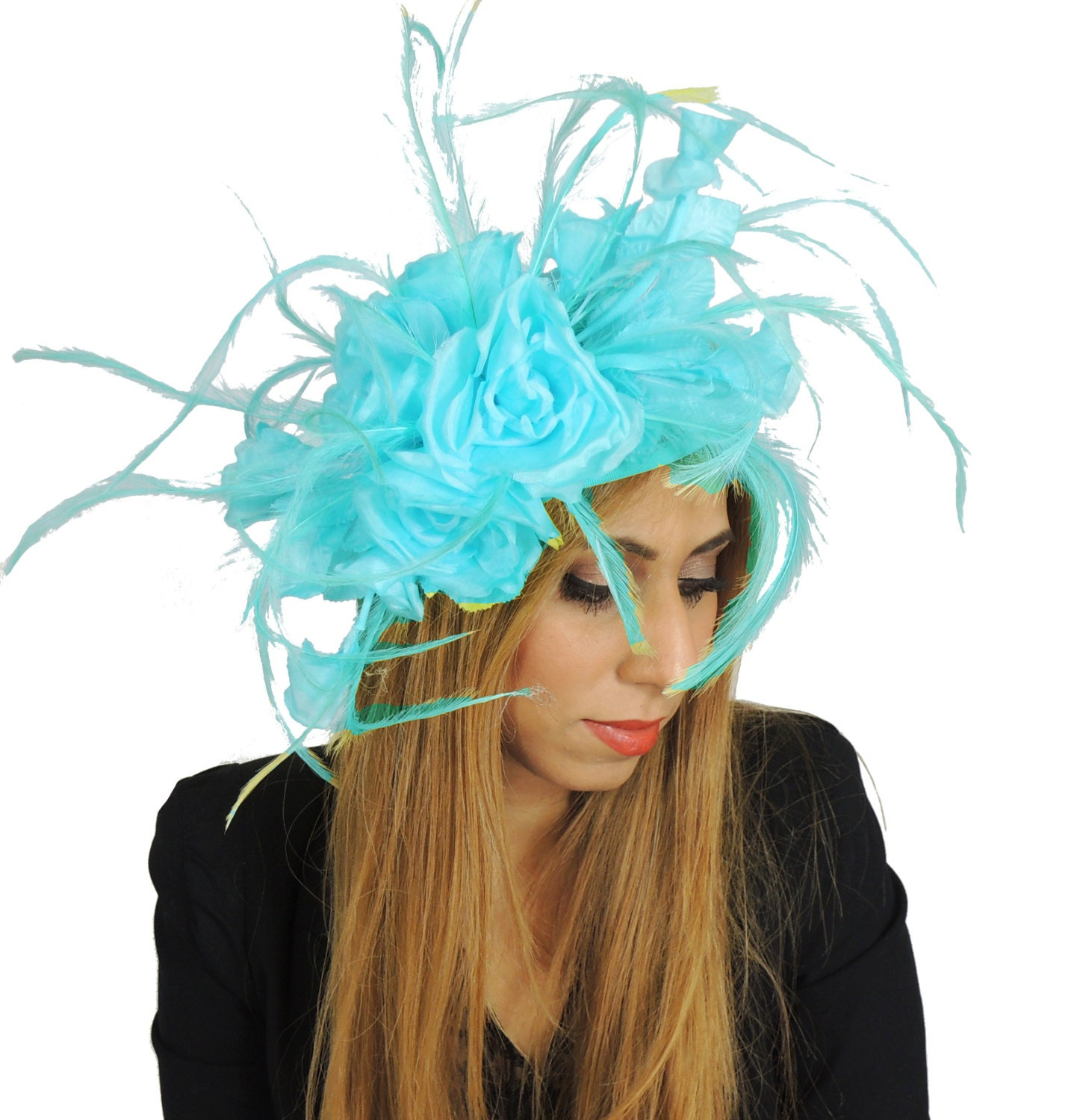 Jasmine Turquoise Fascinator Hat for Weddings Races Kentucky Derby (in 20 colours)
