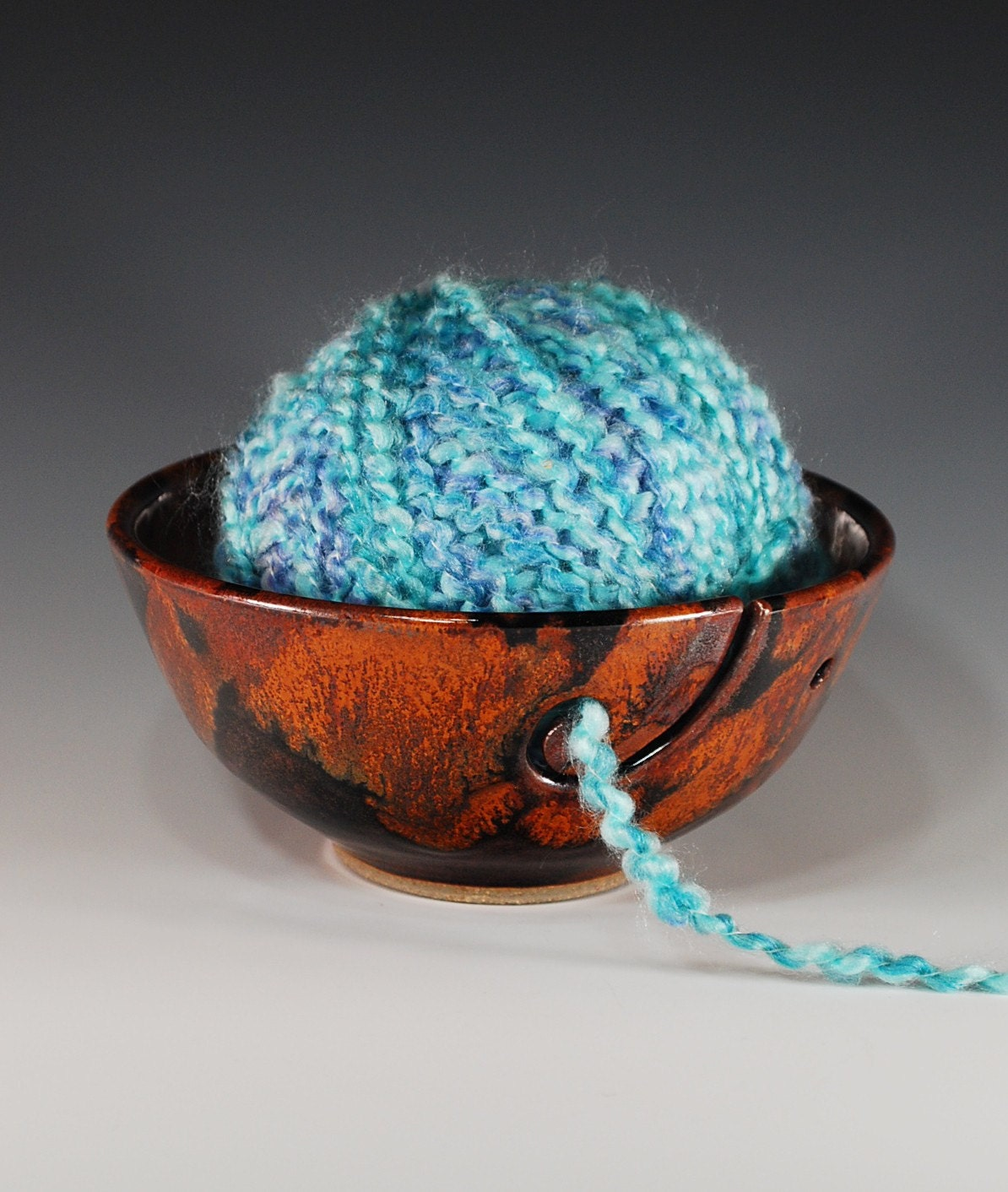 Yarn bowl/Knitter's bowl in Copper Lava glaze--wheel thrown stoneware