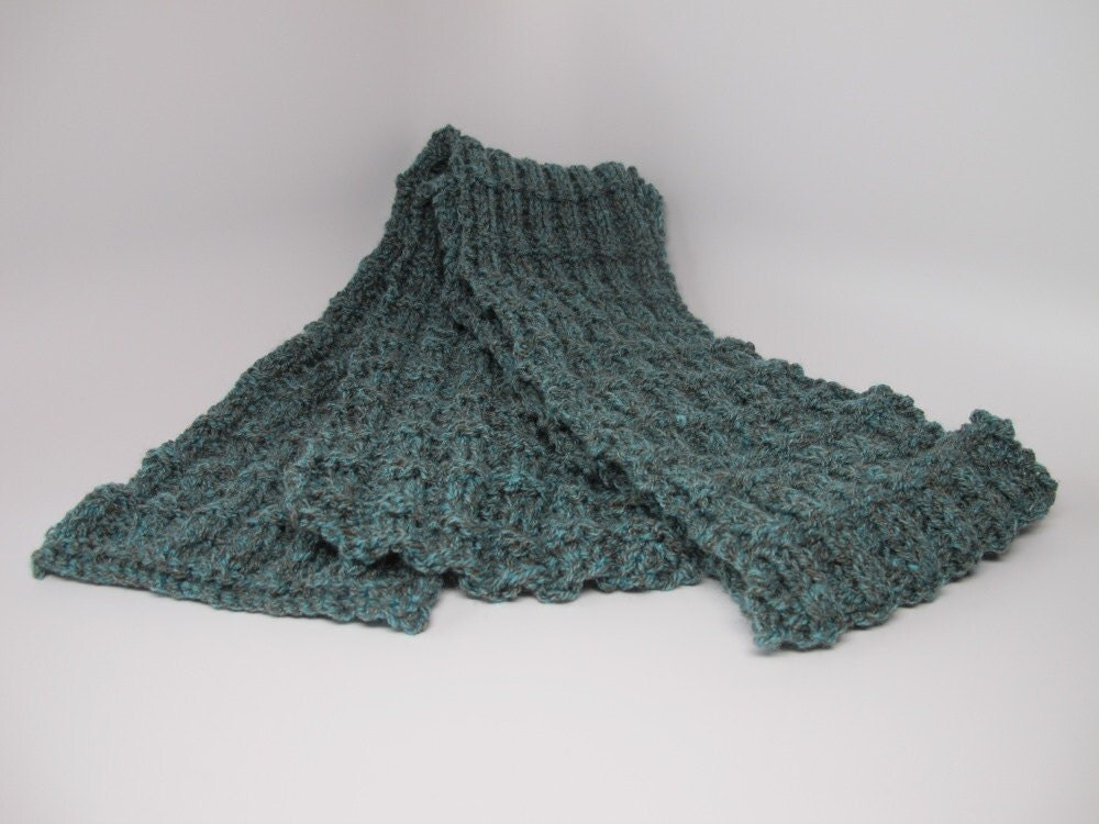 Blue green and teal harris tweed pattern knit scarf by Mimisfolly