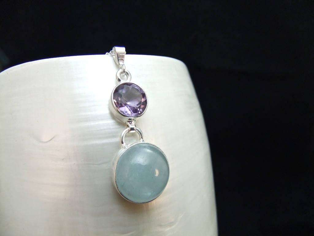 Aquamarine  Amethyst Sterling Silver Necklace