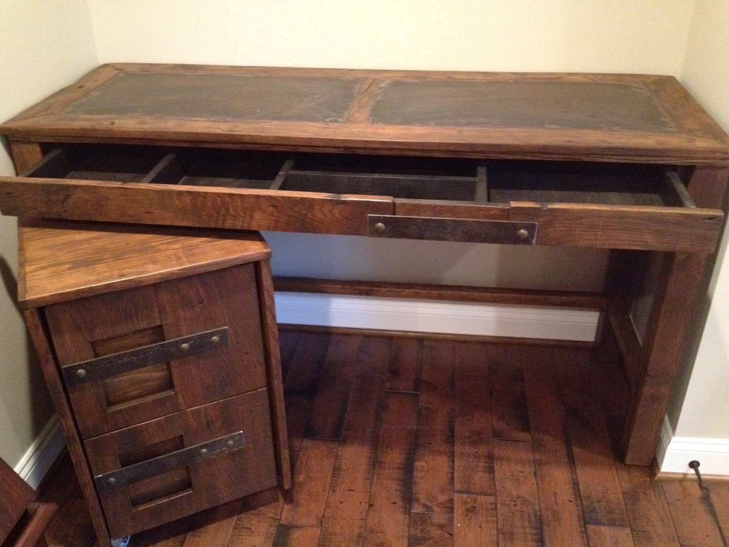 Steel Top Desk and File Cabinet