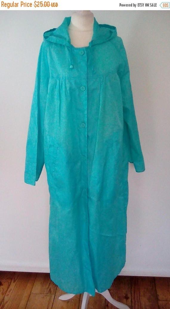 summer sale Vintage Rain Coat anorak  full length 70s blue hooded rain coat by JS perfect for festivals size small medium