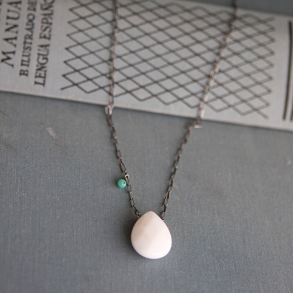 white jade teardrop necklace - SALE ITEM
