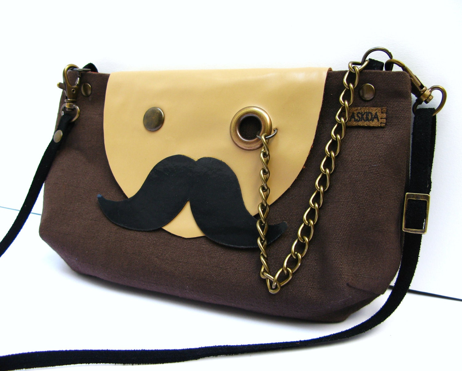 VEGAN Mr. Mustache with Monocle Brown Cotton Cross Body