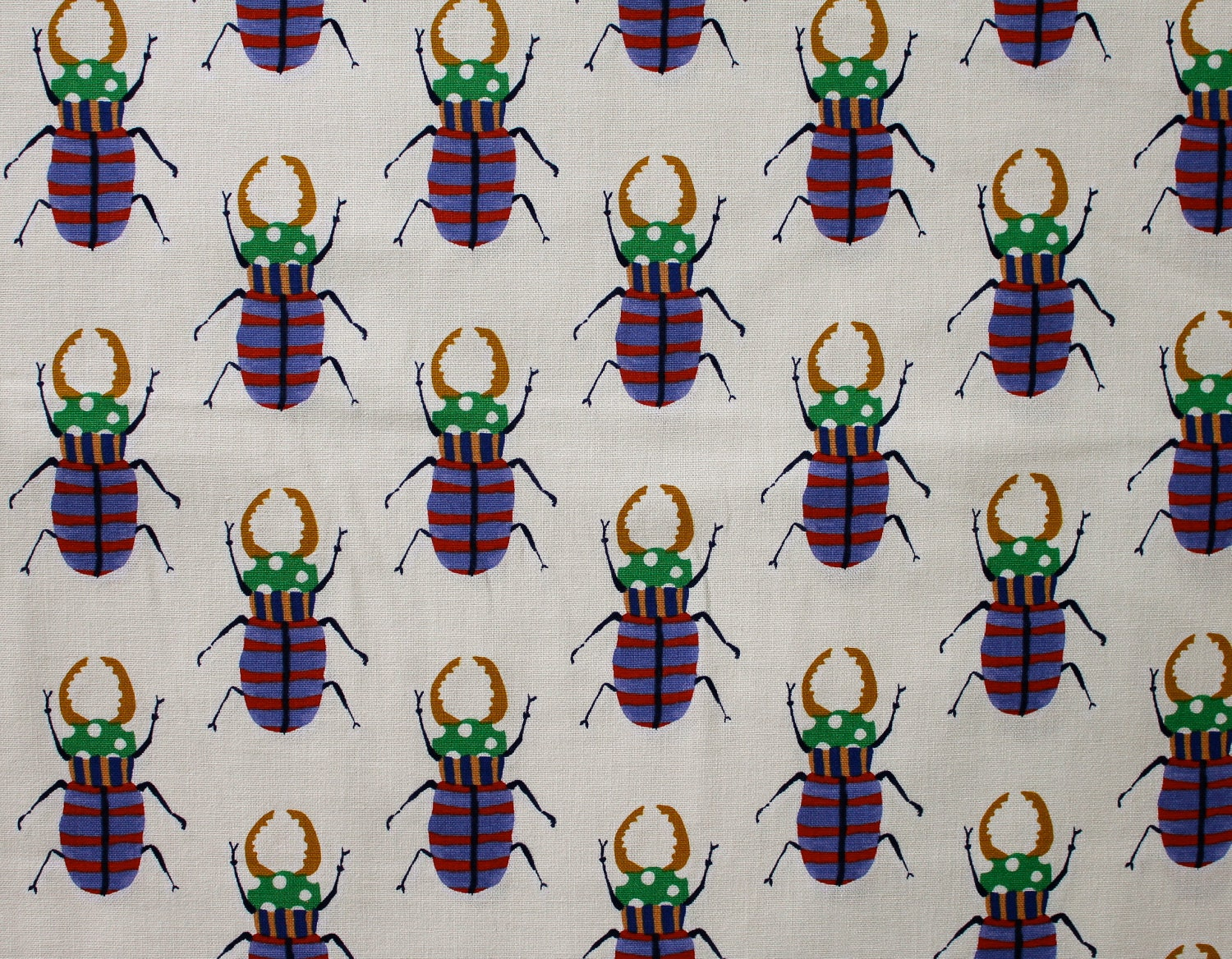 Japanese Fabric Kokka Stag Beetles - blue, red, green, mustard on off white - fat quarter