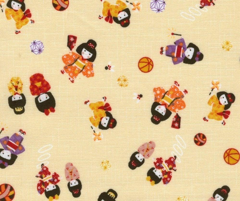Playing Kimono Girls in Yellow - Japanese Fabric Half Yard