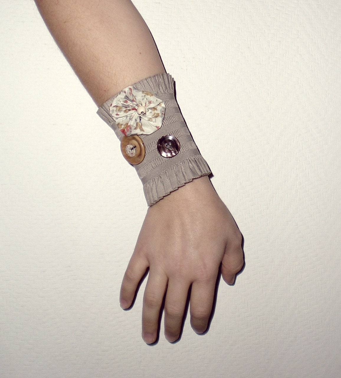 Autumn Cuff bracelet-Earthy colours- beige elastic with vintage orange fabric flower- ready to ship