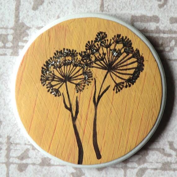 Orange Mirror, Dandelion Vanity Mirror in Acrylic Paint