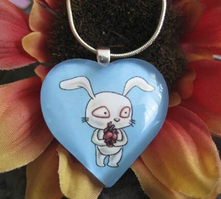 Bunny Love Heart Glass Pendant