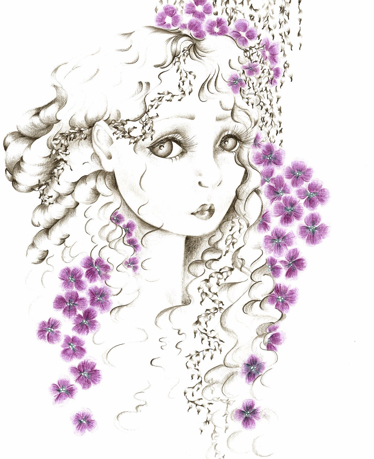 My Secret Garden Giclee Print of my Original Drawing, Fine Art  Fantasy