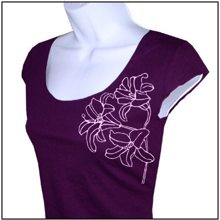 Etsy :: Lilies and Butterflies - Women Scoop Neck Top from etsy.com