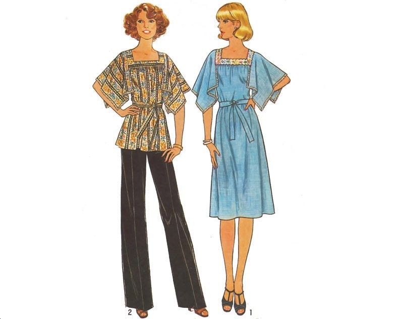 Vintage Uncut 70s Sewing Pattern Boho Dress Top by mysweetiepiepie from etsy.com