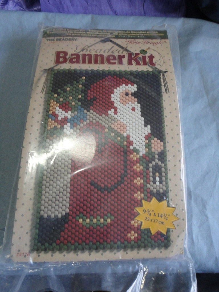 beaded banner kit santa claus from the by oldandnewboutique