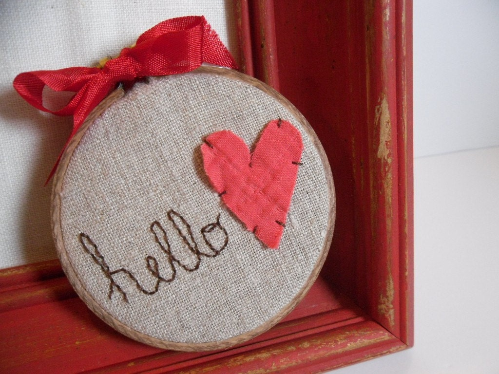 Valentines Day Hello Love Vintage Upcycled 3 inch Hoop - Great Stocking Stuffer by TheCareerScrapper on Etsy