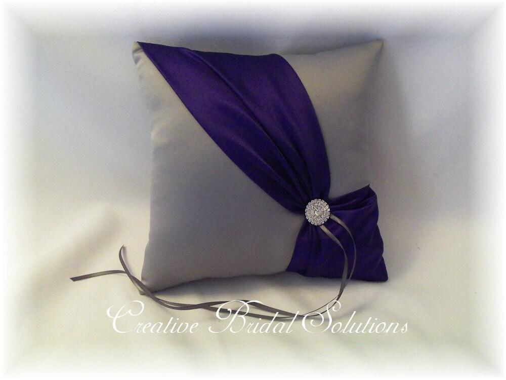 Pewter and Regal Purple Wedding Ring Bearer Pillow Diagonal